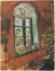 Window of Vincent's Studio at the Asylum. Created in Saint-Rémy in October - 5-22, 1889. It is currently located at Van Gogh Museum.    Watercolor, Black chalk, gouache