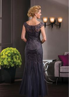 Junoesque Tulle Scoop Neckline Mermaid Mother of The Bride Dresses With Beadings