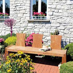 Die Garten-Bank ist schön wie eine Skulptur aus recyceltem Old-Teak Natur pur: Jedes Stück ist ein von Hand gefertigtes Unikat