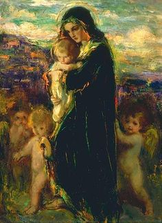 Laura Muntz Lyall (1860 – 1930, Canadian)Madonna With Angels