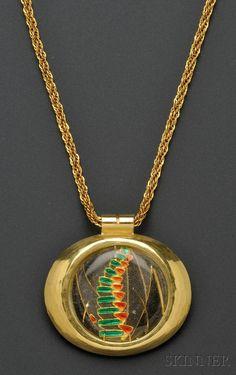 18kt and 22kt Gold and En Resille Enamel Pendant, Margret Craver ...