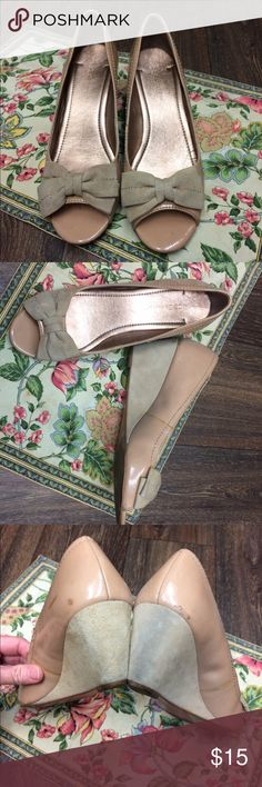 Nude Patent Leather Wedges BCBG Nude wedges with super sweet bow.  I took many photos to show the wear of the shows.  I bought these at Macy's a few years ago and as great as they are I would rather not wear them anymore.  Take them from me, make an offer 😜 BCBGeneration Shoes Wedges