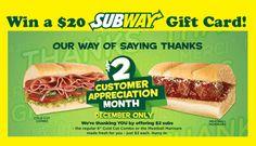 Cheap eats and a chance to win? Must be Subway Customer Appreciation Month! Subway Bread, Subway Gift Card, Subway Nutrition, Meatball Marinara, Cold Cuts, Gift Card Balance, Money Saving Mom