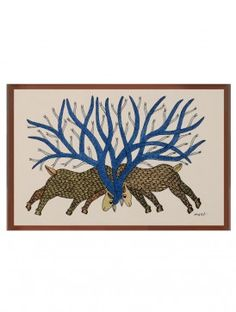 Multi-Color Framed Gond Wall Art 14.2in x 10.1in