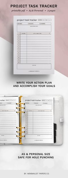 Break down your tasks into manageable categories so that you can work on them one step at a time. Keep control of all tasks, objectives, brainstorm ideas, track time, list down weekly tasks, due dates, and progress. #taskplanner #todolistplanner #projectplanner #dailyplanner #workplanner #studentplanner #academicplanner Work Planner, Planner Dividers, Project Planner, Business Planner, Goals Planner, Academic Planner, Student Planner, Printable Planner, Printables