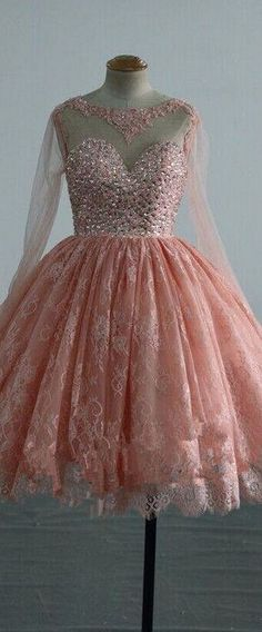 Lace Short Puffy Prom Dresses Party Dress With Crystals Long Sleeve Prom Dress