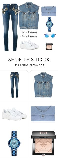 """""""casual lux denim"""" by polychampion-805 ❤ liked on Polyvore featuring Dolce&Gabbana, Yves Saint Laurent, adidas, Chanel, Christian Dior, Givenchy, Ray-Ban and Denimondenim"""