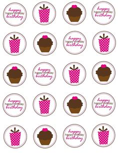 Printable Cupcake Toppers Birthday By Simplysweetpartyshop Birthday Tags, Happy Birthday, Bottle Cap Images, Bottle Caps, Diy And Crafts, Crafts For Kids, Chocolates, Valentine Treats, Planner