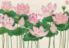 Lotus on Behance Lotus Drawing, Lotus Painting, Lotus Art, Mural Painting, Fabric Painting, Watercolor Flowers, Watercolor Art, Pichwai Paintings, Nature Sketch