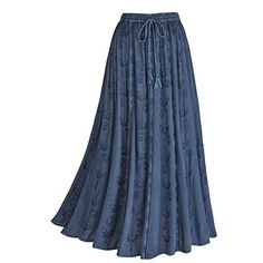 Womens Embroidered Broom Long Peasant Skirt  Enzyme Wash  Denim  1X >>> You can find out more details at the link of the image.