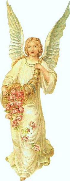 ~J   angel...with horn...of roses
