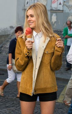 Sherri's fringe jacket on holiday: nicola peltz