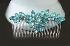 large wedding comb,teal hair comb,teal bridal jewelry,bridal hair combs,aqua,turquoise,teal,bridal hair accessories,wedding hair accessories on Etsy, $89.00