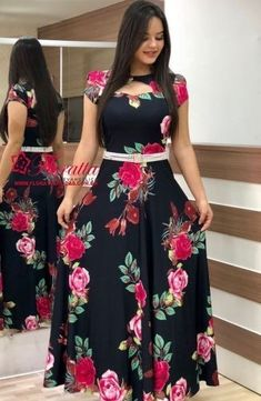 elegant spring autumn women dress 2019 casual bohmia flower print maxi dresses fashion hollow out tunic vestidos dress plus size - Coral Red XXXL Floral Print Gowns, Printed Gowns, Floral Maxi Dress, Maxi Dresses, Dress Outfits, Long Gown Dress, Crepe Dress, The Dress, Indian Gowns Dresses