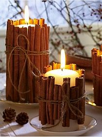 Tie cinnamon sticks around your candles. the heated cinnamon makes your house smell amazing. good holiday gift idea too. Tie cinnamon sticks around your candles. the heated cinnamon makes your house smell amazing. good holiday gift idea too. Holiday Crafts, Holiday Fun, Spring Crafts, Yule Crafts, Cheap Holiday, Holiday Mood, Holiday Wishes, Holiday Baking, Holiday Ideas
