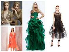robe nouvel an et quatre modèles en vert, orange, noir et doré