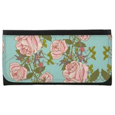 Elegant Vintage Nature Pink Roses Beautiful Flower Wallet - pattern sample design template diy cyo customize