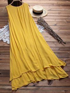 Plus Size Women Sleeveless A-line Layered Maxi Dress Plus Size Maxi Dresses, Simple Dresses, Casual Dresses, Summer Dresses, Boho Fashion, Fashion Dresses, Fashion Trends, Sleeves Designs For Dresses, Mode Hijab