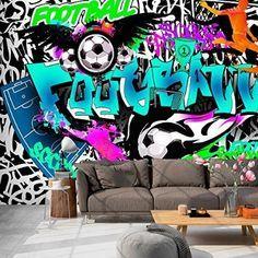 Papier peint intissé 350x245 cm - 3 couleurs au choix - Top vente - Papier peint - Tableaux muraux déco XXL Graffiti i-A-0111-a-c