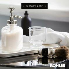 "kohler_indiaNo gentleman is complete without a stylish shaving kit. Hit ""Like"" if you agree! Indiana, Kohler Faucet, Movember, Bathroom Essentials, Soap Dispenser, Shaving, Gentleman, Sink, Delicate"