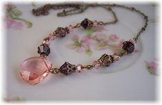 New Swarovski Vintage Rose/Amethyst Crystal by HisJewelsCreations, $32.00