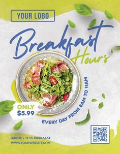 Download the Free Breakfast Hours Flyer Template! - Free Flyer Templates, Free Food Flyer, Free Restaurant Flyer - #FreeFlyerTemplates, #FreeFoodFlyer, #FreeRestaurantFlyer - #Burger, #Dinner, #FastFood, #Food, #Fries, #Menu, #Offer, #Promotion, #Pub, #Special