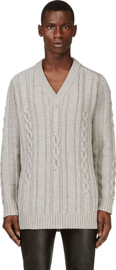 Maison Martin Margiela - Grey Oversize Cable Knit Sweater | SSENSE