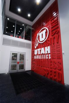 and Karen Huntsman Basketball Facility, University of Utah Corporate Interior Design, Corporate Interiors, Signage Design, Branding Design, Environmental Graphic Design, Environmental Graphics, School Signage, Trade Show Design, Sports Wall