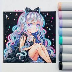 Nova, my oc --> #novaocby_ibu_chuan Oh, señor Jesús, no la dibujaba hace años XD su cabello es tornasoleado, dependiendo de la luz, se pueden ver distintos colores en zonas de su pelo. Cómo antes no sabía usar bien los copics y no tenía papel especial, no podía concretar esa idea ;w; #copicmarker #copicsketch #copicmultiliner #constellation #stars #universe #girl #beautygirl #kawaii #cute