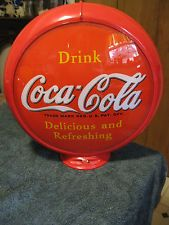 "Coca-Cola Gas Pump Globe 16.5"" X16.5""  2 glass lenses in a capcolite body #216"