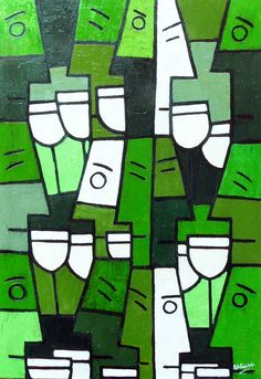 "Wine Art ""White Wine with Friends"" Abstract painting by Simon Fairless __[simonsgallery.com] #cGreens"