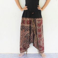 dark brown paisley  print harem pants  Indian by meatballtheory, $18.00