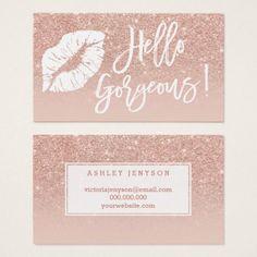 Hello gorgeous lips typography blush rose gold business card - rose gold style stylish diy idea custom