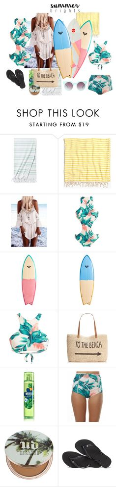"""☼☼☼"" by alibuuh ❤ liked on Polyvore featuring Serena & Lily, Madewell, Quiksilver, Style & Co., Billabong, Urban Decay, Havaianas and Quay"