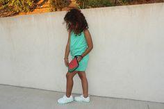 #Combishort + #baskets lumineuses = une Nini ravie ! Sienna Lou #mode #enfant