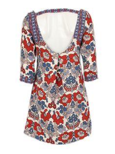 jurk met blauw/rode bloemenprint - Korte jurken - BoBo Tremelo
