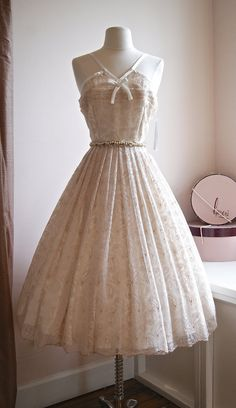 Vintage Style 50s Tea Length Wedding Dress ~ Xtabay Exclusive 1950s Style Wedding Dress ~ Ivory and Rose Gold 50s Style Dress
