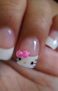 I got a hello Kitty french today.except my tips are black and only the ring finger is white with the hello kitty design on it Cute Nail Art Designs, Ongles Hello Kitty, Nail Diamond, Jolie Nail Art, Just In Case, Just For You, Nagel Hacks, Cat Nails, Manicure Y Pedicure