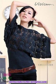 Crochet Top site has lots of great free patterns http://mirincondecrochet.wordpress.com/2011/12/01/blusa-de-mangas-amplias-con-union-de-motivos/un'idea molto originale!
