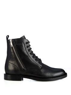 Saint Laurent Lace-up leather biker ankle boots