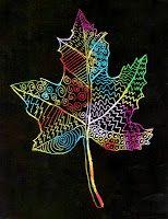 Art Projects for Kids: Scratch Art Leaf