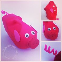 Hodge Podge / Craft ideas for kids: No spill pig watering can