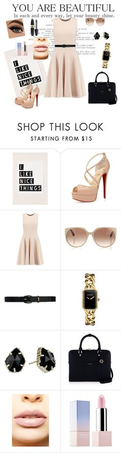 """""""Untitled #16"""" by dinelaa ❤ liked on Polyvore featuring Christian Louboutin, Michael Kors, Tom Ford, Lauren Ralph Lauren, Chanel, Kendra Scott, Henri Bendel, LASplash, Sephora Collection and Max Factor"""