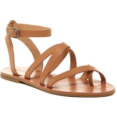 Lucky Brand Aubree Ankle Strap Flat Sandal ($40) ❤ liked on Polyvore featuring shoes, sandals, brown sugar, leather strap sandals, strappy flat sandals, flat sandals, toe ring sandals and ankle strap sandals