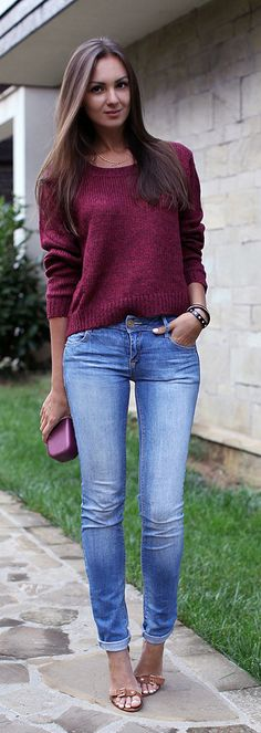 Jeans + Sweater get a boost from killer heels
