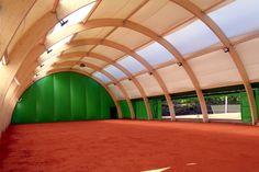 Glulam wooden Tennis hall in Warsaw Wesoła