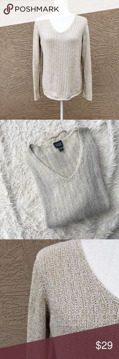 EILEEN FISHER V-Neck Oatmeal Sweater Off-white/cream with tan threading rolled hem sweater. Excellent Condition. ✨OFFERS WELCOME✨ Eileen Fisher Sweaters V-Necks