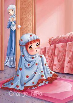Want my kids 2 hav iman n pray properly inshaAllah Cute Muslim Couples, Muslim Girls, Girl Cartoon, Cute Cartoon, Niqab, Muslim Ramadan, Hijab Drawing, Islamic Cartoon, Islam Women