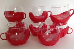 Lot of 8 Vintage 1960s Melitta Glass Plastic Hot Cold Coffee Cups Mugs Pyrex MCM