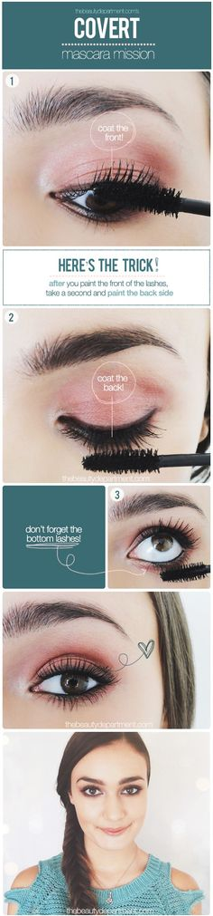 If you want thicker lashes, coat the front, coat the back, then coat the front again!